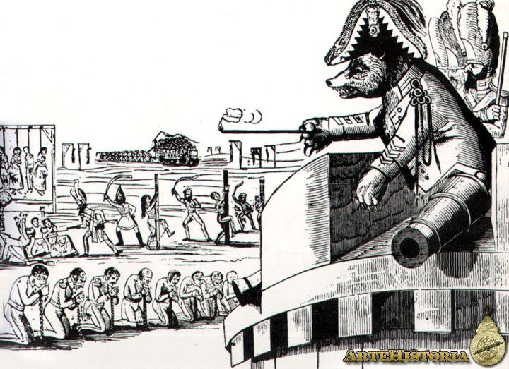 Caricatura inglesa sobre la represión de Nicolás de Ia rebelión polaca