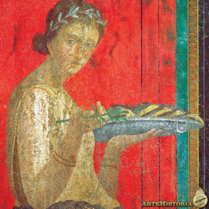 Fresco de la Villa de los Misterios de Pompeya, Joven llevando una ofrenda a Baco